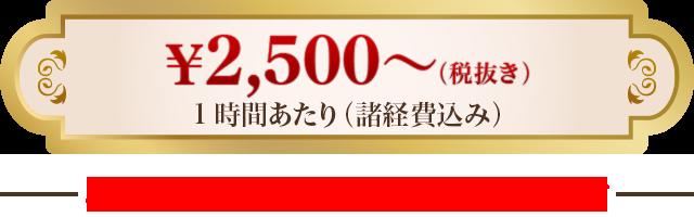 1時間あたり(諸経費込み)2,500円(税抜き)